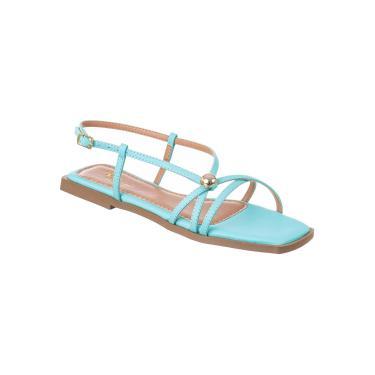 Imagem de Sandália Feminina Rasteira Flat de Tiras Dália Bico Quadrado azul  feminino