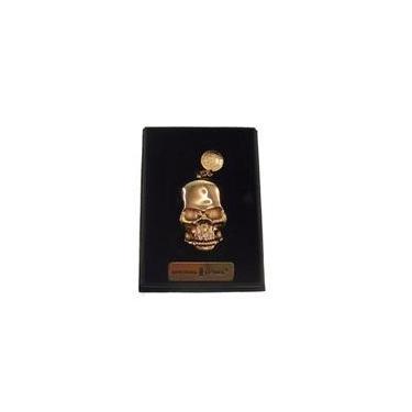 Isqueiro Eletrico Caveira Skull Recarregavel Dourado 8x4x2cm