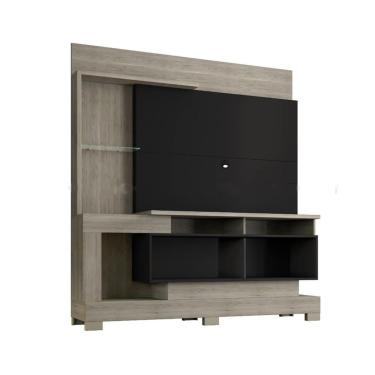 Painel Home Para Tv Madri Carvalho/Preto Porto Velho 181X158x38
