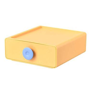 Imagem de maiduoduo01 Organizador de gaveta de maquiagem de grande capacidade, armazenamento de cosméticos, acessórios de mesa, amarelo