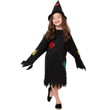 28445d3f56746 Fantasia de Bruxa Feiticeira Lovely com Chapéu Halloween Infantil - G 8 - 10