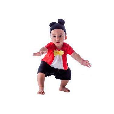 547cc1b6e Fantasia de Ratinho Mickey Bebê Macacão Curto Com Orelhas