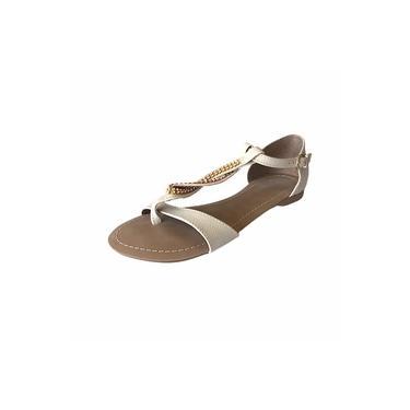 Rasteirinha em couro Marfim CS Shoes