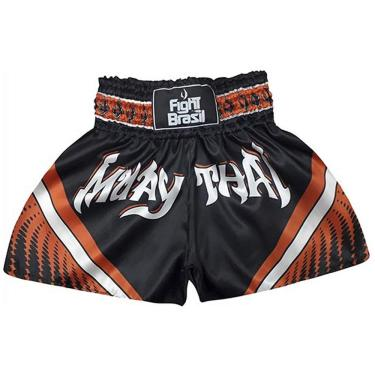 Fight Brasil Short Calção Muay Thai Athrox, P, Preto/Laranja
