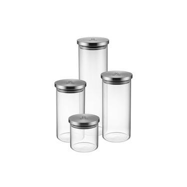Conjunto de Potes Electrolux Hermético Vidro com Tampa Inox 4 Pecas