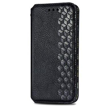 Capa para Motorola Moto Edge Fashion Magnetic Cor Sólida Suporte à Prova de Choque Capa Protetora de Couro PU Carteira Flip Folio Capas para Celular - Preta