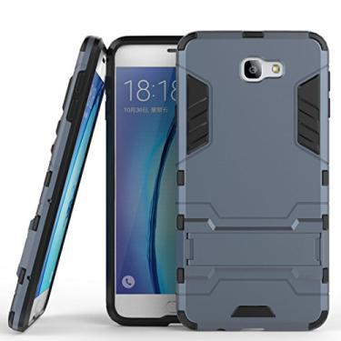 Capa híbrida para Samsung Galaxy On7 (2016), Galaxy On7 (2016), capa à prova de choque, capa rígida híbrida de proteção de camada dupla com suporte para Samsung Galaxy On7 de 5,5 polegadas (2016) (azul preto)