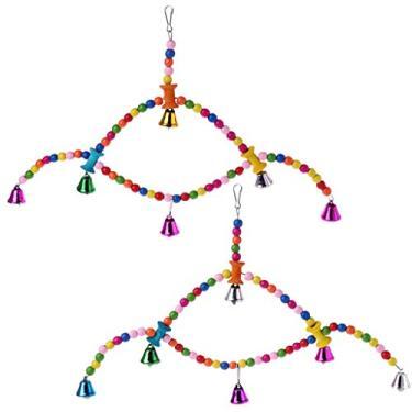 N/A/ Gaiola de pássaro colorida de madeira, brinquedo, papagaio, espátula, poleiro, brinquedo de mastigar para pendurar