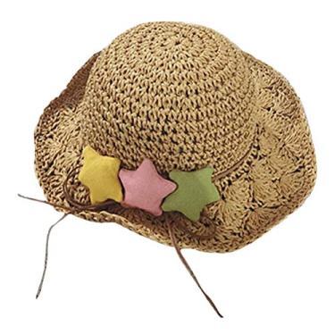 Chapéu de palha infantil para uso ao ar livre com decoração em forma de estrelas, chapéu de sol feito à mão, chapéu de sol flexível, chapéu de praia, chapéu de verão, chapéu Panamá para meninas (Cáqui)