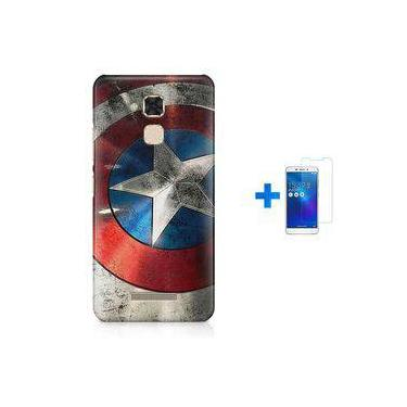 Kit Capa Tpu Zenfone Max Zc520tl Capitão América Avengers Vingadores + Pel Vidro (bd01)