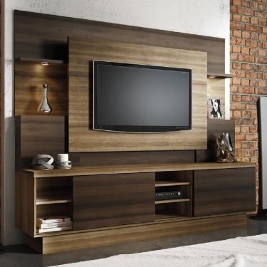 Imagem de Estante Home para TVs até 55 Polegadas com LED Aron Yescasa Capuccino Wood/Ébano