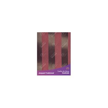 Imagem de Toalha De Mesa Quadrada Em Tecido Jacquard Marrom E Vermelho Listrado Tradicional