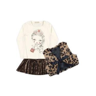Conjunto Menina Camiseta Princesa Saia Rodada Brilho Marrom E Colete Pêlo Oncinha