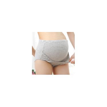 Calcinha feminina de cintura alta listrada sem costura, cuecas macias para abdômen