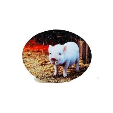 Imagem de Quebra-Cabeça Oval Cognitivo para Idosos - Animais Fazenda - 51 peças