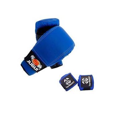Kit Luva Bate Saco + Bandagem Muay thai Boxe artes Marciais Azul