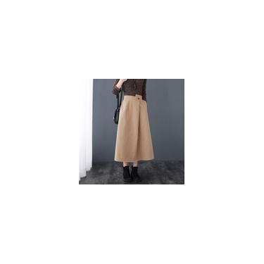 Saia feminina vintage com bolsos elásticos altos irregulares na cintura e tamanho casual solto com saia reta