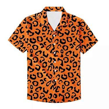PinUp Angel Camiseta masculina havaiana de manga curta com estampa de bolinhas de leopardo e botões, Oncinha laranja, S