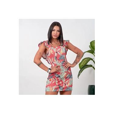 Vestido Feminino Com Alça Canelado Folhagem Coral