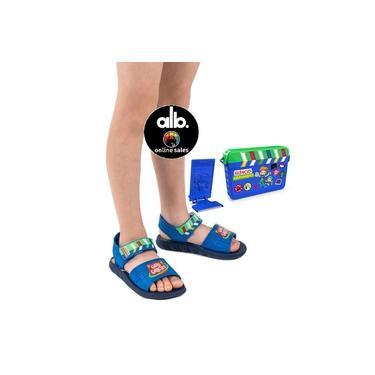 Sandália Papete Infantil Gato Galáctico + Brinde Kit Youtuber 321 Gravando 22465 Azul + Nota Fiscal