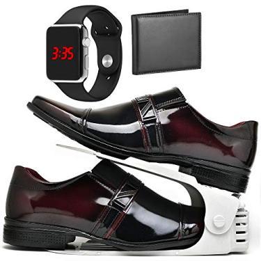 Kit Sapato Social Com Organizador, Carteira e Relógio LED Silver Masculino DUBUY 820DB Tamanho:43;cor:Vermelho;gênero:Ma