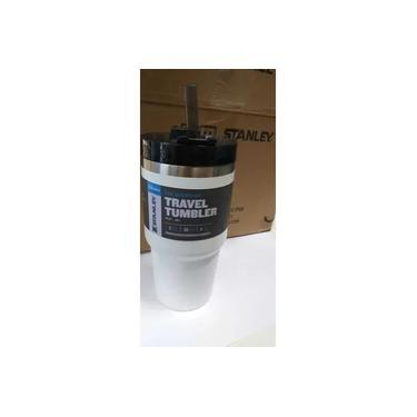 Copo Térmico Stanley A Vácuo C/ Tampa E Canudo - 591 Ml 100% original Cerveja Refrigerante agua Quente ou Frio stanley travel tumbler branco e preto