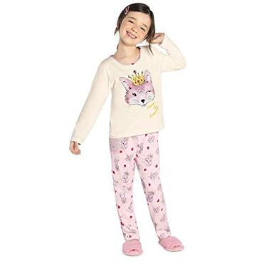Pijama Infantil Feminino Raposa Rovitex Kids Bege 10