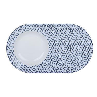 Jogo de pratos fundos em porcelana Casambiente Agatha 20cm azul 6 peças