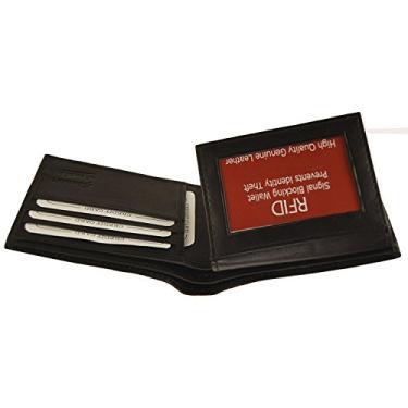 Carteira de couro masculina RFID Improving Lifestyles com dobra dupla preta SUNRFID1203BK