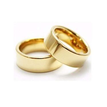 Imagem de Par Alianças anel noivado casamento namoro compromisso banhado a ouro 6mm 18K FRETE GRATIS