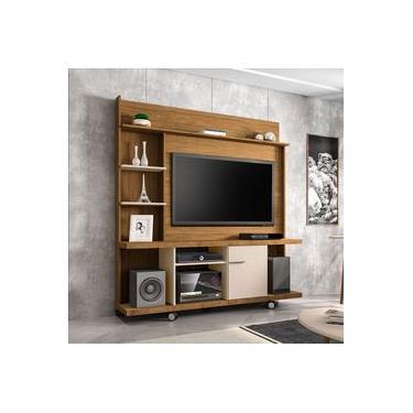 Estante Home New Taurus para TV até 47 Pole 1 Porta Cinamomo e Off White Bechara