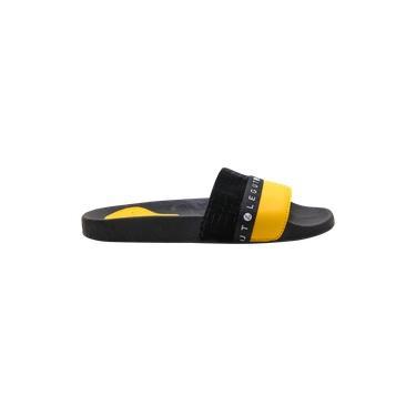 Chinelo Slide Legut Preto e Amarelo