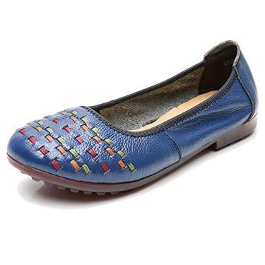 Odema Sapatilhas de balé femininas de bico redondo sem cadarço, Azul, 9.5