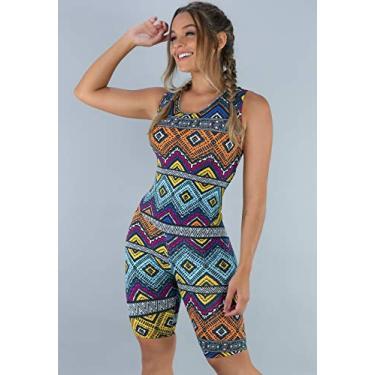 Macaquinho MVB Modas Feminino Curto Fitness Suplex Estampado