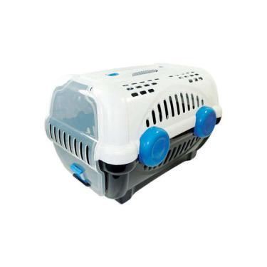 Caixa de Transporte Furacão Pet Luxo Branco e Azul - Tam. 03