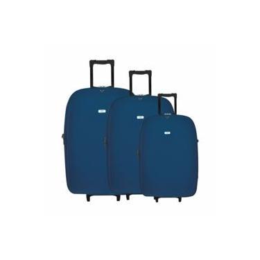 Jogo Malas De Viagem P/m/g C/carrinho Azul Yins 22006a