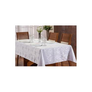 Imagem de Toalha de mesa retangular 2,00x1,35 jacquard branco 6 lugares