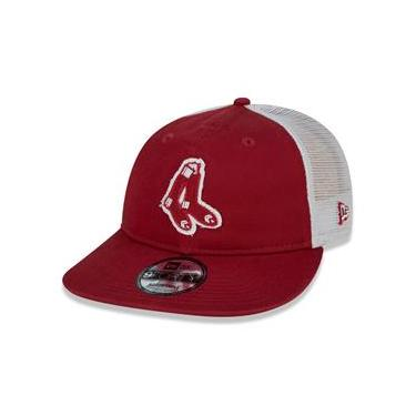 Bone 9Forty Desestruturado Boston Redsox Mlb Aba Curva Vermelho New Era
