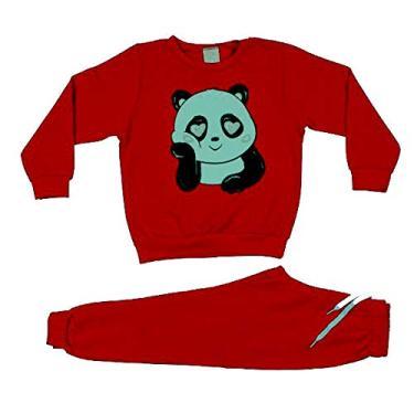 Moletom Feminino Infantil Roupa Infantil Menina Conjunto de Frio Cor:Vermelho;Tamanho:6