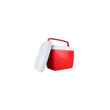 Imagem de Caixa Térmica Cooler 34 Litros Resistente Prática Com Alça Comporta 50 Latinhas Vermelha Mor