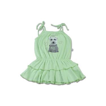 Vestido Infantil Malha Botonê Rustic Fresh Neon Cachorrinho - Verde