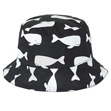 Chapéu de praia feminino KESYOO com desenho de grafite, pescador, chapéu de sol de dois lados, preto