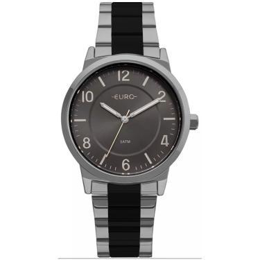 323675b7839 Relógio Feminino Euro Eu2036ylv 5k Prata Preto