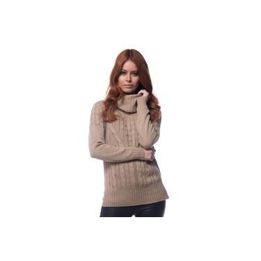 Blusa Logan Tricot Feminina Raglan Trançada Gola Alta Rolê Castor
