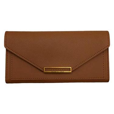 Valicclud carteira feminina retrô bolsa clutch envelope bolsa de mão PU bolsa de mão para presentes de festa feminina e meninas (preto), Marrom, 19X9X1.5CM