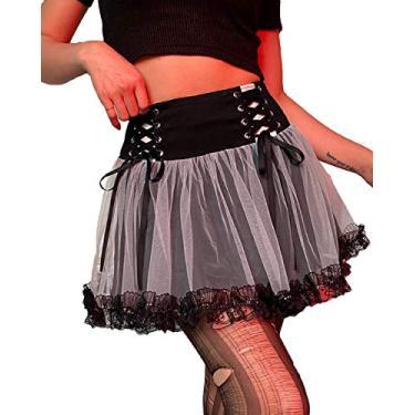 Saia gótica plissada sexy roxa cintura alta mini saia xadrez com cadarço, Saia careca, S