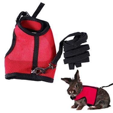 Imagem de Peitoral para filhotes de cachorro de malha macia e coleira ajustável para animais de estimação, colete para caminhada, acessórios para gatos e cães pequenos coelhinhos (vermelho, tamanho G)