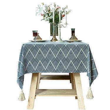 Imagem de HUALUDA Toalha de mesa, toalha de mesa retangular, algodão, linho, bordado, sem rugas, anti-desbotamento, lavável toalha de mesa para cozinha, festa de jantar, retangular/oblongo (cor: azul, CH: 55,155 cm)