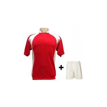 a461ba2334 Uniforme Esportivo com 14 camisas modelo Suécia Vermelho Branco + 14  calções modelo Madrid +