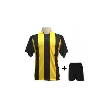 Uniforme Esportivo com 12 camisas modelo Milan Preto Amarelo + 12 calções  modelo Madrid Preto + Brindes 94613f533a1e6